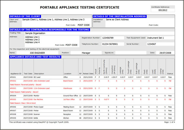 Portable appliance testing for Pat testing record sheet template
